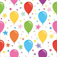 Festive seamless pattern with colorful balloons and confetti. For birthday, baby shower, holidays design.