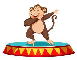 Monkey dancing on the stage vector