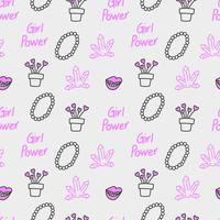 Girl power seamless pattern vector