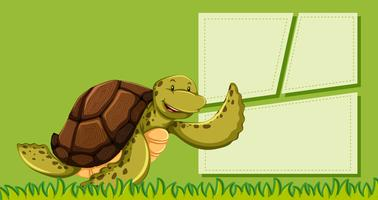 A turtle on green note vector