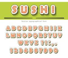 Sushi rolt lettertype geïsoleerd op wit.