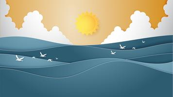 Landscape of Ocean water wave with sun, cloudscape and flying seagulls paper cut style.
