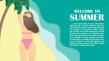 Summer background with back view of bikini young girl at tropical beach and palm paper cut style.