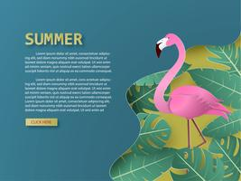 Summer background with flamingo bird and tropical palm and leaves paper cut style. vector