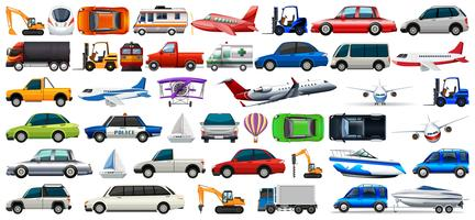 transport set of cars and trucks