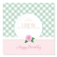 Birthday greeting card template. Round frame on plaid background. Shabby chic design.