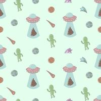 Alien and spaceship seamless pattern