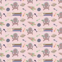 Cat and Alien seamless pattern