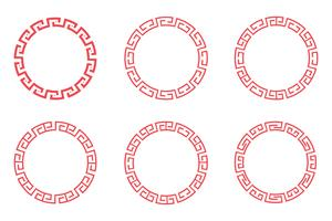 Chinese red circle set design  vector