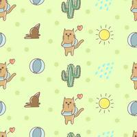 Cat summer seamless pattern vector