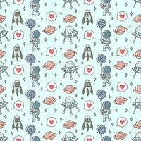 Cute Astronaut playing balloon seamless pattern