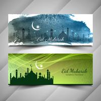 Abstracte stijlvolle islamitische banners van Eid Mubarak instellen