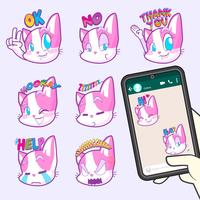collections de stickers emoji chat mignon