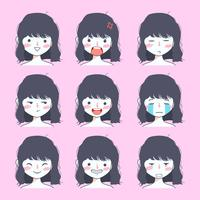 collection de stickers emoji de jolie fille