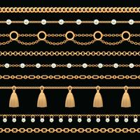 Set collection of golden metallic chain borders with pearls and tassels. On black. Vector illustration