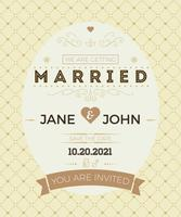 Vintage wedding invitation card template