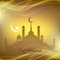 Abstract Eid Mubarak Islamic greeting background vector