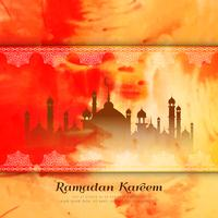 Abstract Ramadan Kareem watercolor style background vector