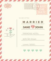 Plantilla de tarjeta de invitación de boda de la vendimia vector