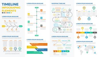 Business timeline infographic elements