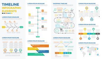 Elementi di infografica timeline di affari