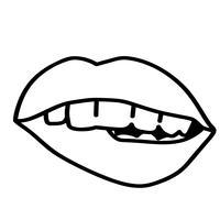 vetor de morder os lábios