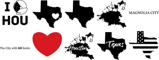 mapa del vector houston texas