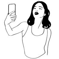 vector de chica selfie