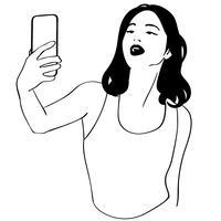 vetor de garota selfie