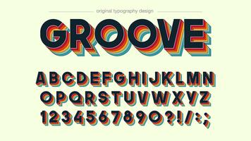 Retro groove colorful typography design vector