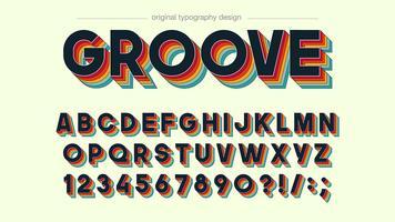 Conception de typographie colorée groove rétro