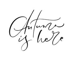 De herfst is hier die kalligrafietekst van letters voorzien die op witte achtergrond wordt geïsoleerd. Hand getrokken vectorillustratie. Zwart-wit poster ontwerpelementen