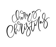 Merry Christmas hand drawn lettering. Vector illustration Xmas calligraphy on white background. Isolated calligraphic element for banner, postcard, poster design greeting card