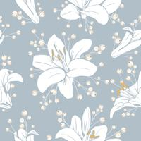 Seamless pattern with flowers. Lilium floral texture. Hand drawn botanical vector illustration