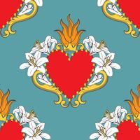 Seamless damask pattern with beautiful ornamental red hearts with lilies, flame, crown. Vector illustration