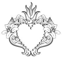 Sacred heart of Jesus. Beautiful ornamental heart with lilies, crown in black color isolated on white background. Vector illustration