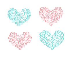 Set of vintage ornament heart. Vector illustration for greeting card, invitation, valentines day, wedding