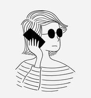 Femme, lunettes noir