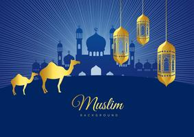 Vector illustration of Eid Mubarak Islamic holiday greeting card design