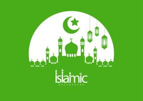 Vector illustration of Eid Mubarak Islamic holiday greeting card design