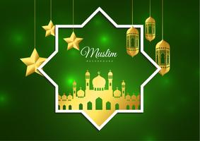 Vectorillustratie van Eid Mubarak islamitische vakantie wenskaart ontwerp