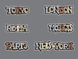 City tag set in graffiti style. Wold capital cities handwritten lettering