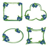 Blueberry branch frame. Berry floral background. Summer food decor