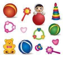 Juguetes para bebés aislados. Conjunto de icono de juguete. Colección de muestra de juego de cuidado de bebé
