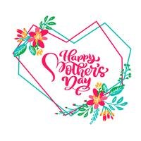 Happy Mothers day hand lettering text in frame of geometric heart with flowers. Vector illustration. Good for greeting card, poster or banner, invitation postcard icon