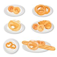 Bread on plate set. Grain food background. Different country cuisine set vector
