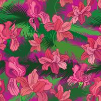 Floral seamless pattern. Tropical fowers. Jungle style background vector