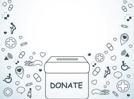 donera, välgörenhet för medicinsk och hälsa bakgrund vektor