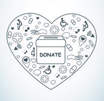 spenden Sie, Nächstenliebe für Medizin und Gesundheit auf Herzformvektor