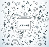 donate , charity for medical and health background vector